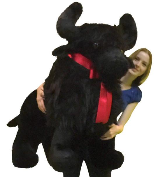 Huge stuffed Black Buffalo more than three feet long made in the USA by Big Plush