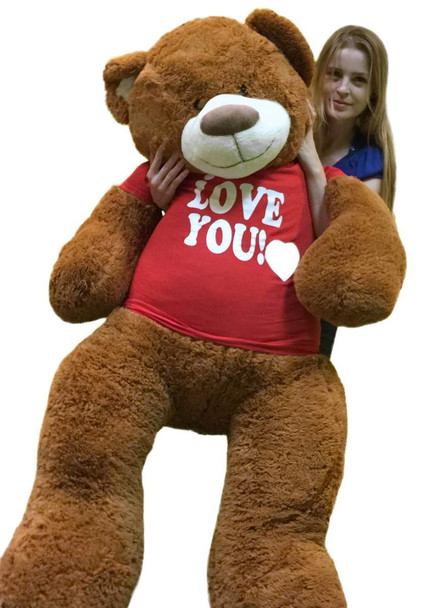 5 Foot Giant Teddy Bear 60 Inch Soft Cinnamon Brown Color Huge Wears I LOVE YOU T-shirt