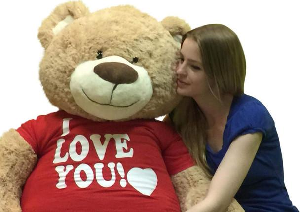 I Love You Giant 5 Foot Teddy Bear Soft 60 Inch Wears I Love You T-shirt