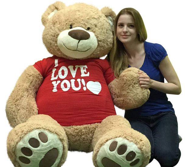 I Love You Giant 5 Foot Teddy Bear Soft 60 Inch Wears I Love You T-shirt