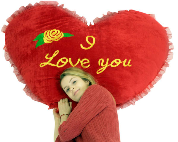 Giant Valentine Heart Pillow 42 Inches I Love You Big Plush Valentines Day Gift, Very Soft Huge and Life Sized