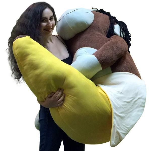 Giant 6 Foot Stuffed Banana Monkey Pillow Huge Soft 72 Inch Big Plush Snuggle Buddy