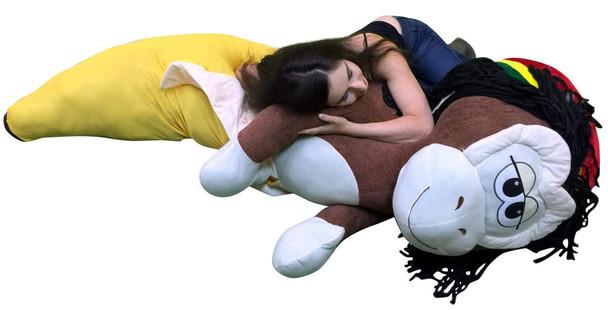 Giant Rasta Monkey Banana Pillow 6 feet tall