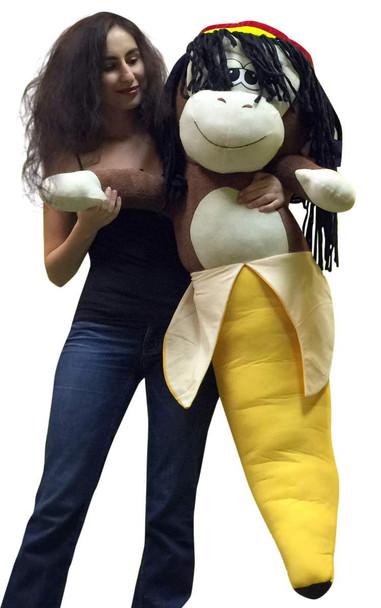 Giant Stuffed 4 Foot Rasta Monkey Banana 48 Inch Soft Huge Big Plush Primate Fruit