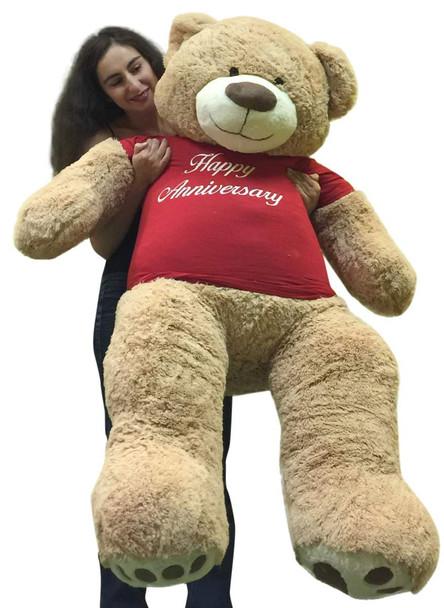 Happy Anniversary Giant 5 Foot Teddy Bear 60 Inch Soft T-Shirt Says HAPPY ANNIVERSARY