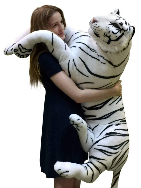 Giant Realistic Stuffed White Tiger 48 Inches Soft Extremely Realistic Big Plush Animal