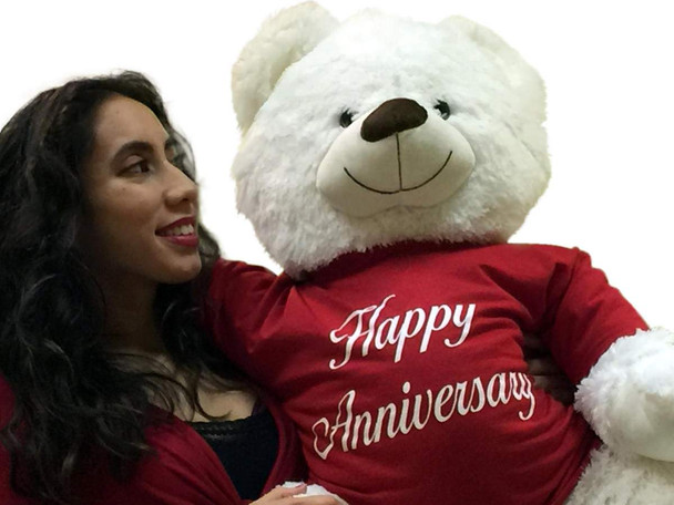Happy Anniversary Giant Teddy Bear 36 inches Soft Smiling Wearing HAPPY ANNIVERSARY T-shirt
