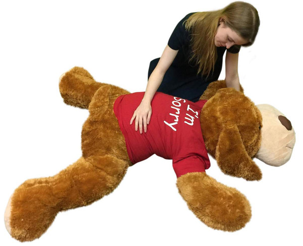 Say I'm Sorry with Giant Stuffed Puppy Dog 5 Feet Long Honey Brown Soft Wears T shirt that says I'M SORRY