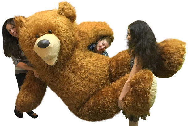 American Made 9 Foot Soft Giant Teddy Bear 108 Inches Honey Brown Long Fur Made in USA