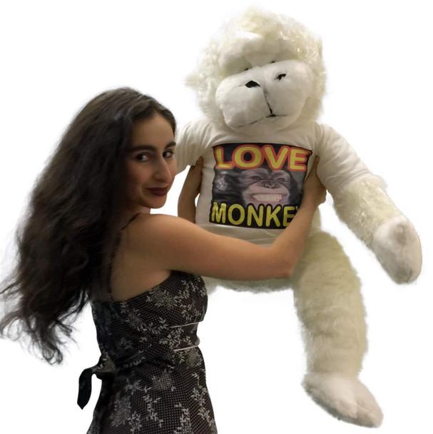 American Made Jumbo Stuffed White Gorilla Wearing LOVE MONKEY T-shirt 40 Inches Soft Plush