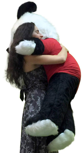 American Made Giant Stuffed Panda 54 Inch Soft Teddybear Wears HUGS AND KISSES Tshirt