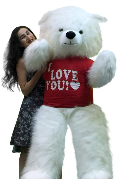 "Giant white teddy bear is 6 feet tall and wears a red t-shirt that says ""I Love You"""