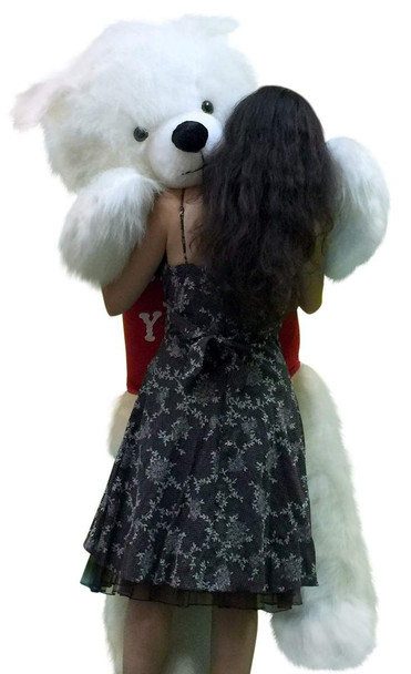American Made Giant 6 Foot White Teddy Bear Wears I LOVE YOU T-Shirt Soft and Big