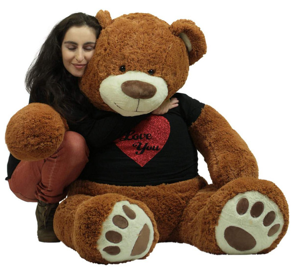 5 Foot Very Big Smiling Teddy Bear Wearing Black and Red I Love You T-shirt Soft Cookie Dough Color