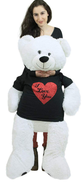 Very Big Valentine White Teddy Bear Wears Removable Black and Red Glitter T-shirt I Love You Soft 52 Inches