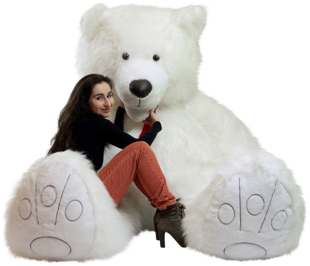 American Made 9 Foot Soft Giant Teddy Bear 108 Inches White Long Fur Made in USA