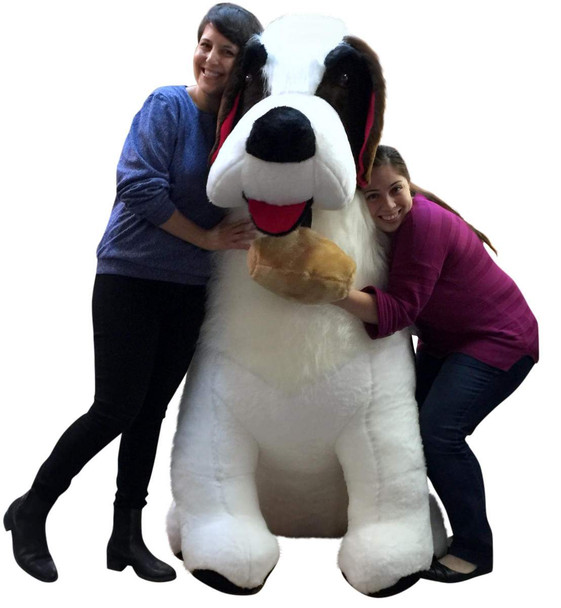 Gigantic stuffed dog Saint Bernard plushie is five feet tall and is made in the USA using American materials.