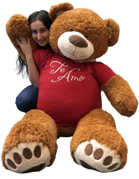 Big Plush 5 Foot Giant Teddy Bear 60 Inches Soft Cinnamon Brown Color Wears TE AMO T-shirt