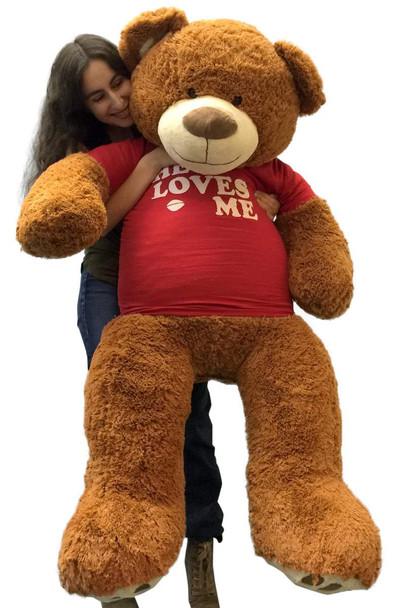 Big Plush 5 Foot Giant Teddy Bear 60 Inch Soft Brown Wears HE LOVES ME T-shirt