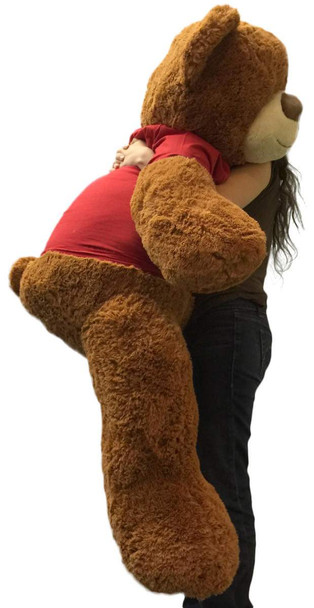 5 Foot Giant Teddy Bear 60 Inches Soft Cinnamon Brown Color Wears LET ME BE YOUR TEDDY BEAR T-shirt