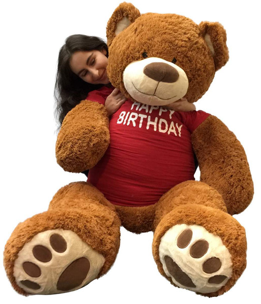 5 Foot Giant Teddy Bear 60 Inches Soft Cookie Dough Brown Color Wears HAPPY BIRTHDAY T-shirt