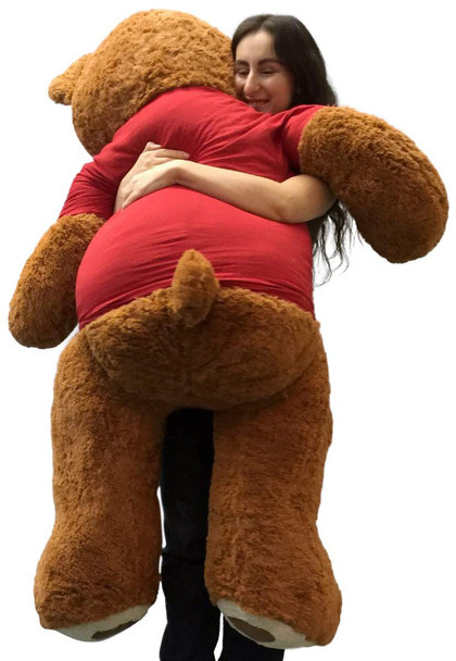 5 Foot Giant Teddy Bear 60 Inches Soft Cinnamon Brown Color Wears I'M SORRY T-shirt