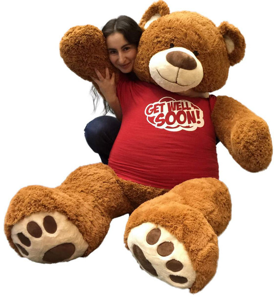 5 Foot Giant Teddy Bear 60 Inches Soft Cinnamon Brown Color Wears GET WELL SOON T-shirt