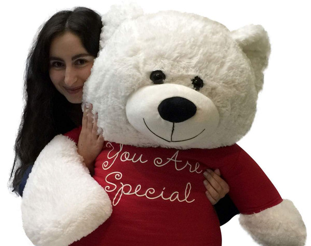 Giant Valentine's Day Teddy Bear 48 Inch White Soft New, Wears Removable T-shirt You Are Special