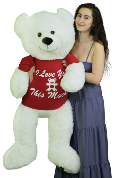 Giant Valentine Teddy Bear 52 Inch White Soft, Wears Removable T-shirt I Love You This Much