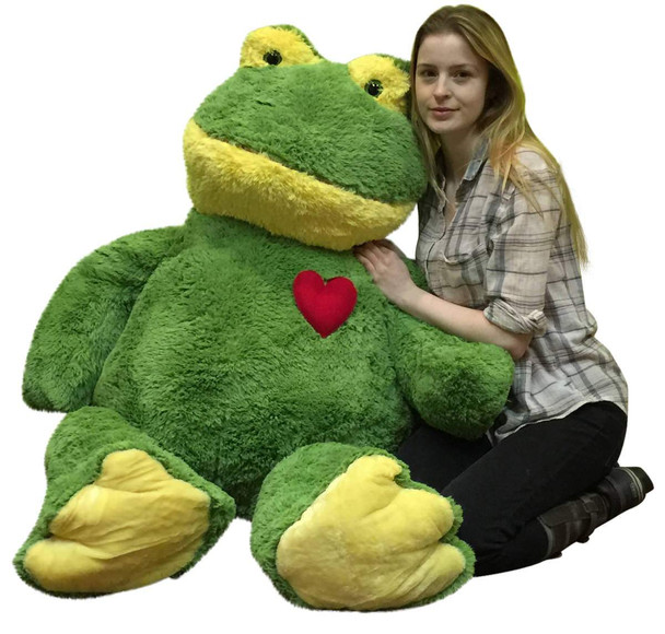 Giant Stuffed Frog 48 Inch Soft 4 Foot Plush Animal, Heart on Chest to Express Love
