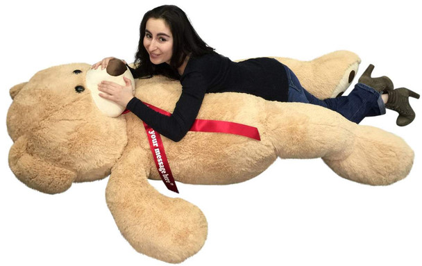 Personalized Big Plush Giant 6 Ft Teddy Bear Soft, Your Message Imprinted on Neck Ribbon Bow