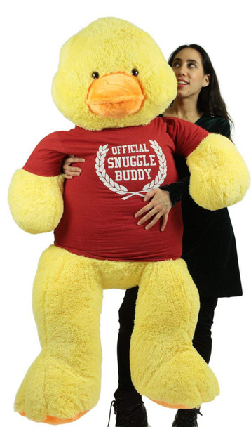 4 Foot Giant Stuffed Duck 48 Inch Soft  Big Plush Wears Tshirt Official Snuggle Buddy