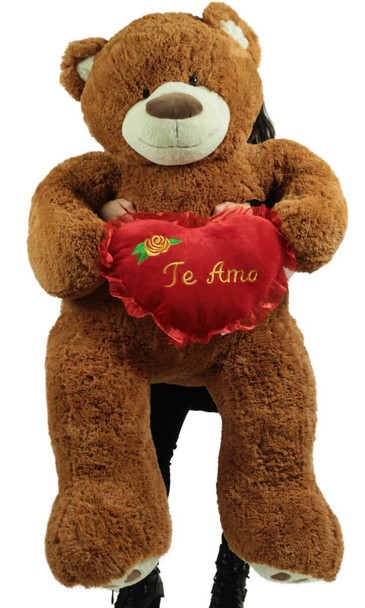 Te Amo Giant 5 Foot Brown Teddy Bear Soft I Love You Plush Holds Romantic Heart Pillow