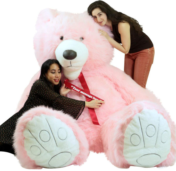 Huge 9 foot pink teddy bear with custom personalized ribbon