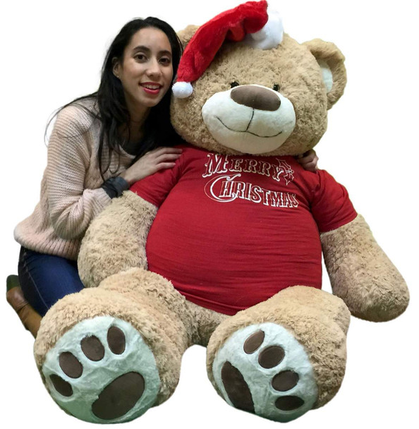 5 Foot Giant Xmas Teddy Bear Soft 60 Inch, Wears Merry Christmas T-shirt and Santa Hat