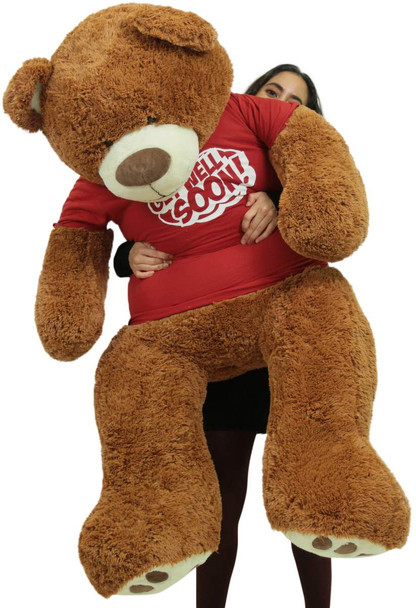 Get Well Soon Giant Teddy Bear 5 ft Soft 60 Inch, Wears Removable T-shirt Get Well Soon, Cookie Dough Color