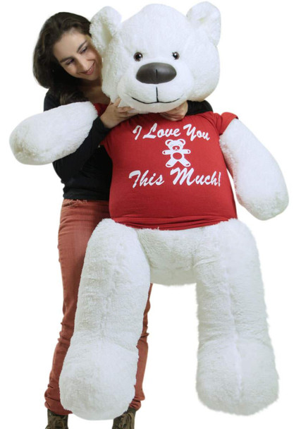 Giant White Teddy Bear Soft 55 Inch, Wears Removable T-shirt I LOVE YOU THIS MUCH
