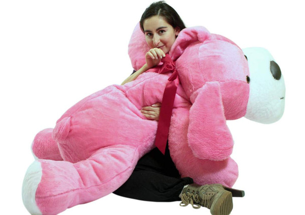 Giant Stuffed Pink Dog 5 Foot Big Plush Puppy Soft 60 Inch Snuggle Buddy Made in USA