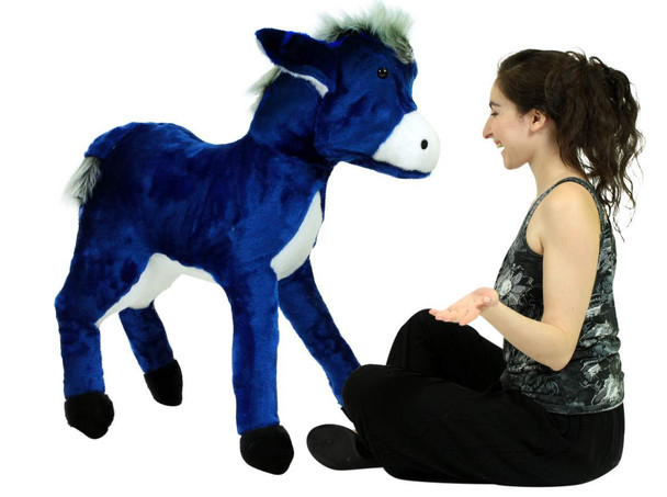 Big Plush Giant Stuffed Blue Donkey 42 Inch Soft Life Size Stuffed Animal Made in USA