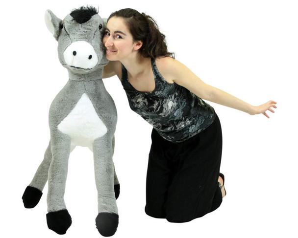 Big Plush Donkey 42 Inch Giant Stuffed Animal Silky Soft Fur