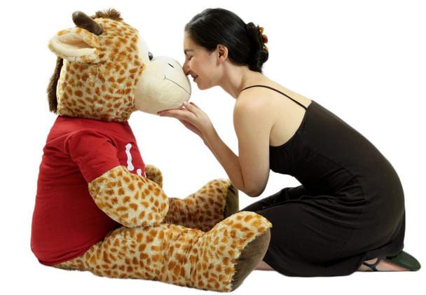 4 Foot Giant Stuffed Giraffe 48 Inch Soft Big Plush Stuffed Animal Wears Tshirt I Love You