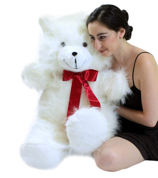 Valentine's Day Jumbo 3 Foot Teddy Bear 36 Inch Soft White Teddybear Made in USA