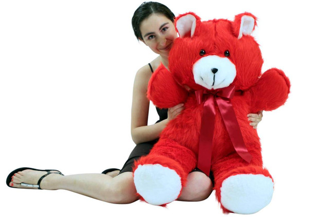 Jumbo 3 Foot Red Teddy Bear 36 Inch Soft Big Plush Cuddle Buddy Made in USA