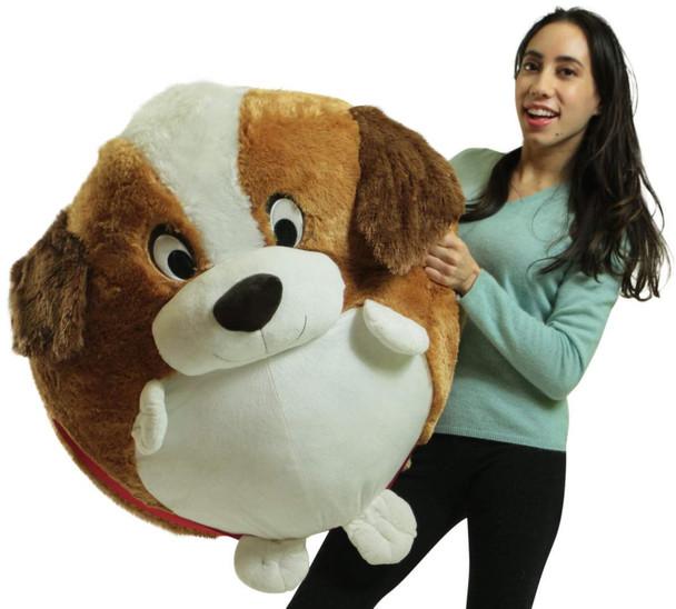 Big Plush Jumbo Stuffed Saint Bernard Soft Dog Smush Ball, 3 Feet Tall, 30 Inch Wide, Weighs 10 Pounds