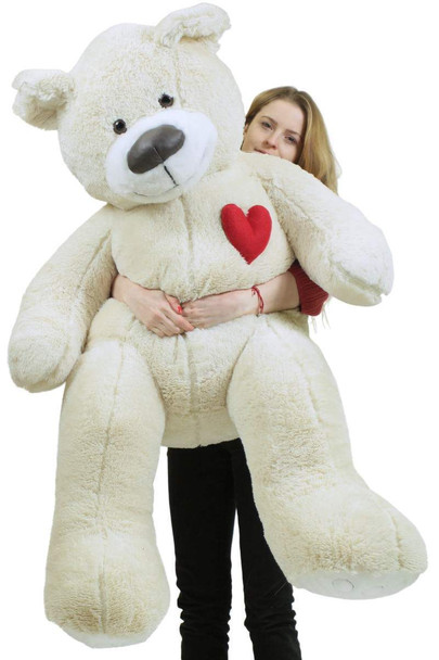 5 Foot Super Soft White Teddy Bear With Heart on Chest to Express Love, Weighs 15 Pounds, Made in USA