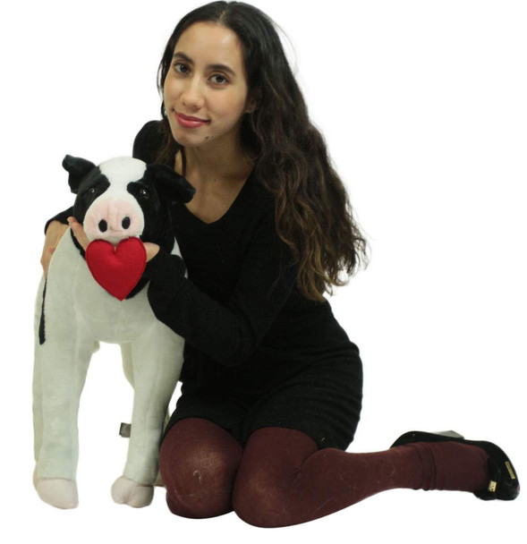 Big Plush Cow With Heart In Mouth to Express Love, Soft Jumbo Stuffed Animal