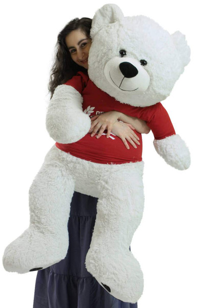 Giant White Teddy Bear 52 Inch Soft, Wears Removable T-shirt Official Snuggle Buddy