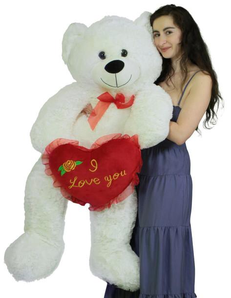 Giant White Teddy Bear 52 Inch Soft Big Plush Bear Holds I Love You Heart Pillow
