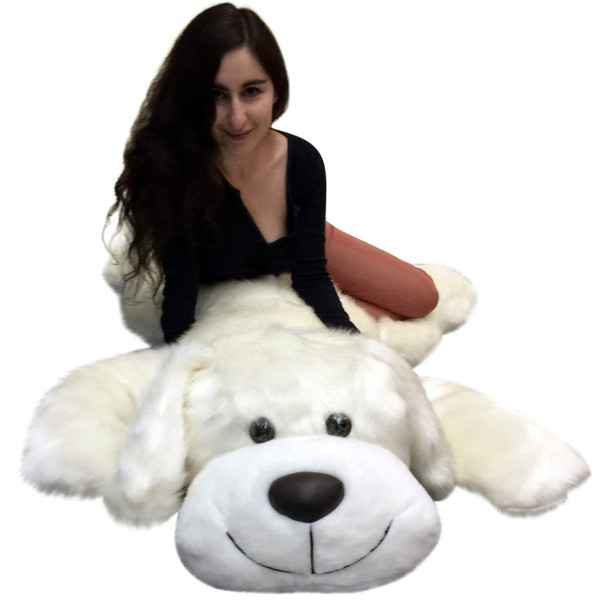 Giant stuffed white puppy dog