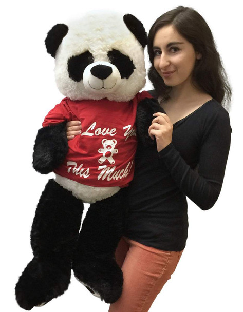 Big stuffed panda bear 36 inches tall wears I Love You This Much T-shirt
